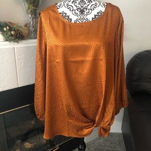 Dressbarn Bronze Spotted Satin Blouse